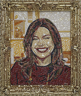 """Rachel Ray,"" Jason Mercier, Beans, pasta, nuts, and dried corn, 21"" x 25"""