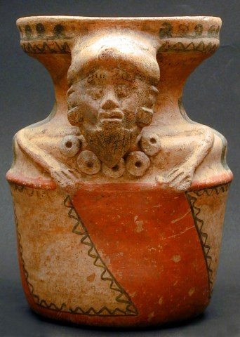 Anthropomorphic Vase with Handle in Form of Bearded Head with Ear Plugs and Necklace, Mayan 2000 BC to 250 AD, Gift of Dr. Daniel Solomon