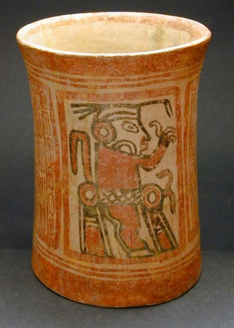 Cylinder Vase with Two Full Standing Figures in Profile, Mayan 2000 BC to 250 AD, Gift of Dr. Daniel Solomon, 1983.5.1
