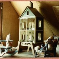 Dollhouse kept in the Ragdale attic [now kept in the top of the barn house]