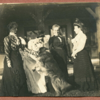 Left to Right - Sarah Van Doren Shaw, Frances Shaw, Jane Wright (Sarah's sister) and Bessie Shaw. Dog, Tammy