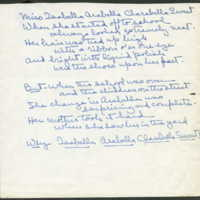 "Hand written poem whose first line reads ""Miss Isabella Arabella Clarabella Sweet"""