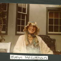 Evelyn McCutcheon on porch of Ragdale