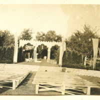 "Empty audience area and stage prior to the performance of the July 121h 1916 production of ""A midsummer moon, and spirits lurking in the glade"""