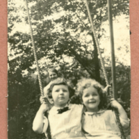 Two children together on a swing