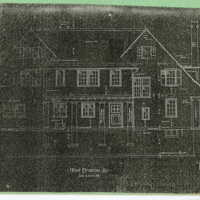 Reduced copies of Ragdale blueprints, East Elevation, Front Elevation. Copies made from 1898 building plans.