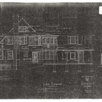 "Reduced copies of Ragdale blueprints, West Elevation and Back Elevation. Photocopy made from 1907 ""Alterations"" building plans."