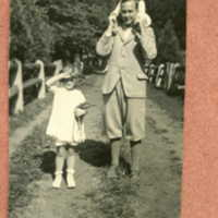 Clay Judson, Alice standing by, and Clayie (Clay Judson Jr) upon his father's shoulders