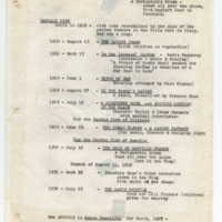 Listing of dates, titles and, in some instances, brief commentary pertaining to each production