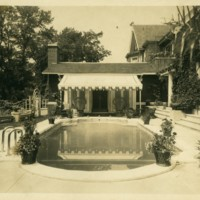 Franklin P. Smith estate, Deerpath, Lake Forest, Illinois--Great hall exterior and pool, 1920s .jpg