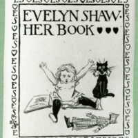 Bookplate of a girl, cat, doll, and book