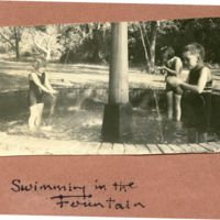 "Three children entitled ""Swimming in the Fountain"""