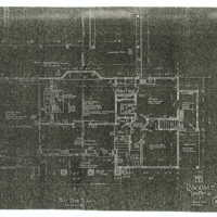 Reduced copies of Ragdale blueprints, First Floor Plan. Copies made from 1898 building plans.