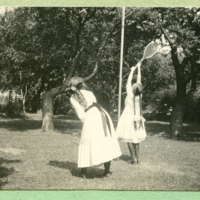 Sylvia Shaw and Dorothy Hacket [Holabird. 'friend of 1990 friends studio'] playing outside
