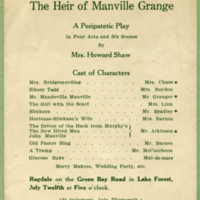 "Original program for ""The Heir of Manville Grange """