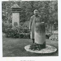 Sylvia Shaw Judson, sundial photographed in front and dovecote photographed in background