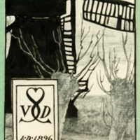"Bookplate of a windmill, reading ""Ex Libris"" and (SVDS, 1896)"
