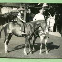 Alice on horse named Sox, and Clay Sr on horse named Tex
