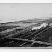 Grant Park, aerial view, Illinois Central Railroad Tracks (no.1)